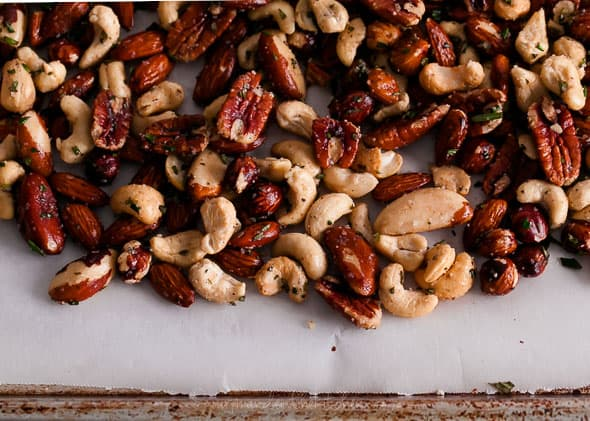 rosemary mixed nuts, roasted nuts, holiday party nuts