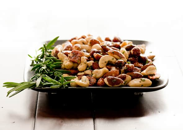 Spicy Rosemary Roasted Nuts on Plate