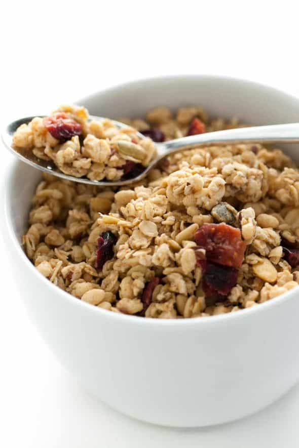 gluten-free granola on spoon