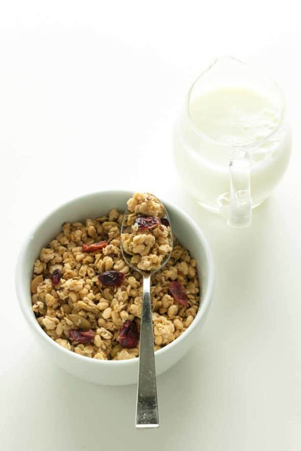 gluten-free granola with cranberries in white bowl