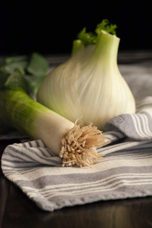 fennel and leek on dish towel