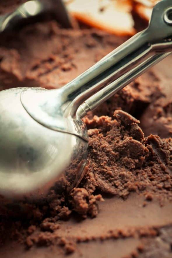 Chocolate Gelato with Ice Cream Scoop