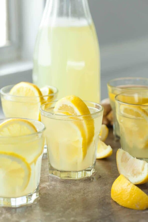 Honey Ginger Lemonade in Glasses with Lemon Wedges