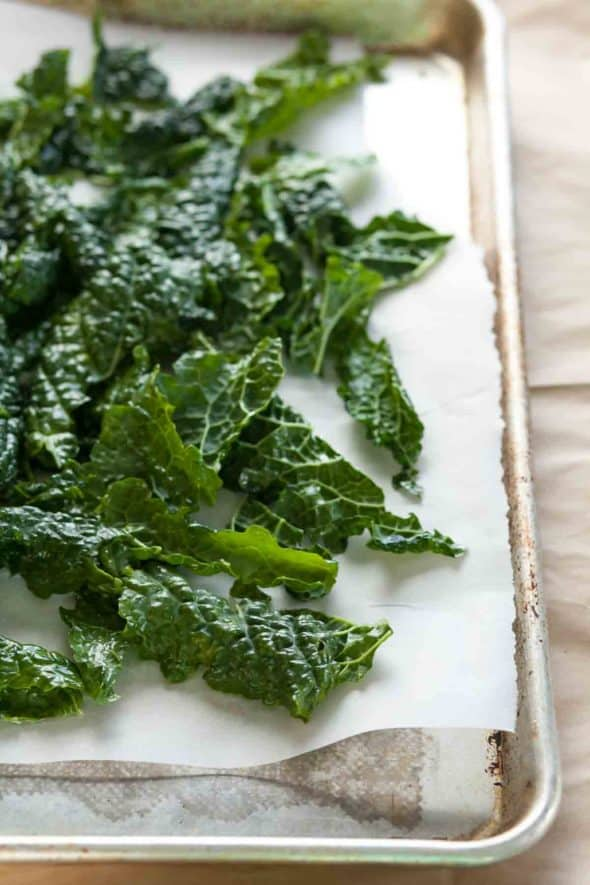 kale leaves on sheet pan