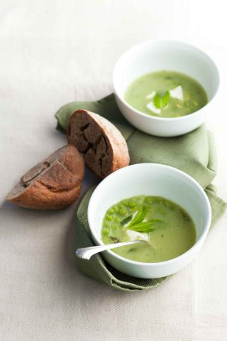 Pea, Edamame and Mint Soup