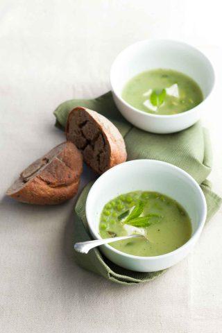 Pea, Edamame and Mint Soup