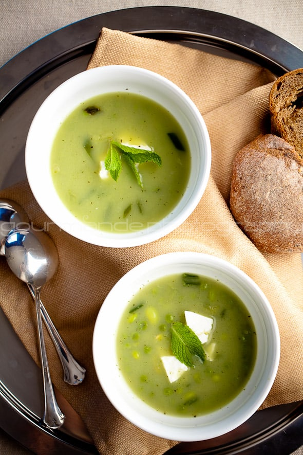 pea edamame and mint soup