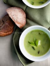 Pea, Edamame and Mint Soup with Feta