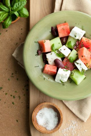 Watermelon, Heirloom Tomato and Feta Salad