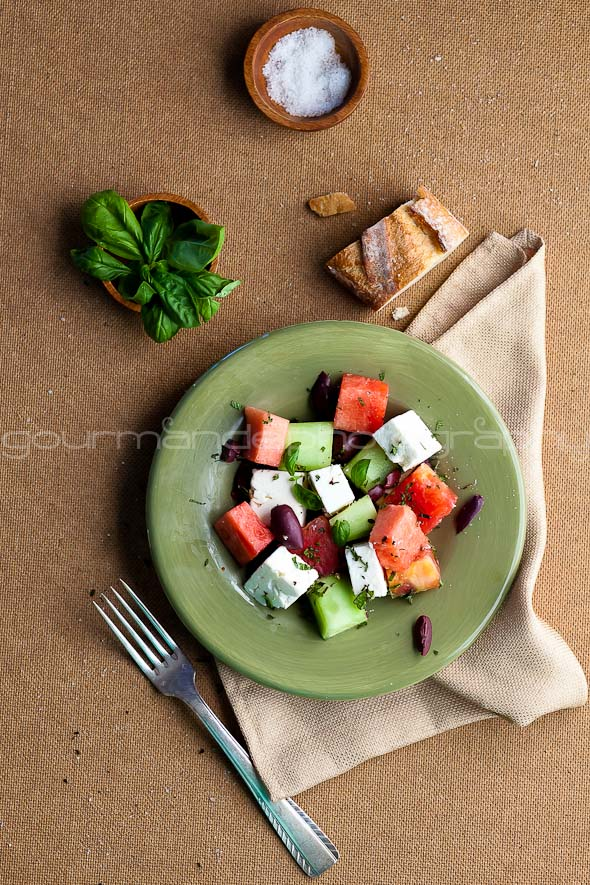 watermelon, tomato, cucumber and feta salad
