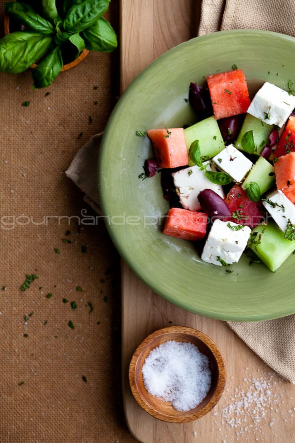 Watermelon, Tomato, Cucumber, and Feta Salad