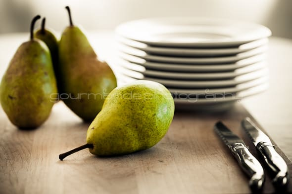 pears on a cutting board The Language of Food Photography Part 1 | Learning the Visual Elements of Design