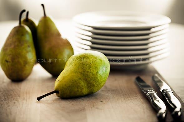 pears on a cutting board
