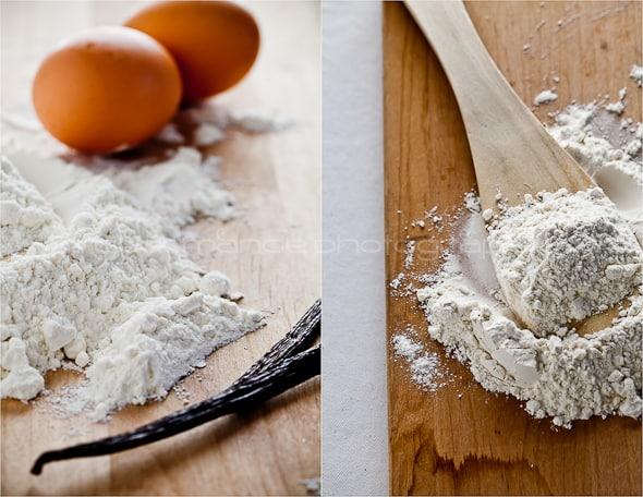 vanilla bean with flour and eggs