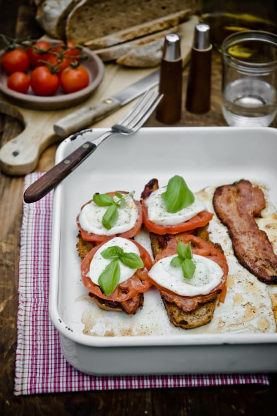 Bacon Tomato Mozarella Tartine by Meeta K. Wolff