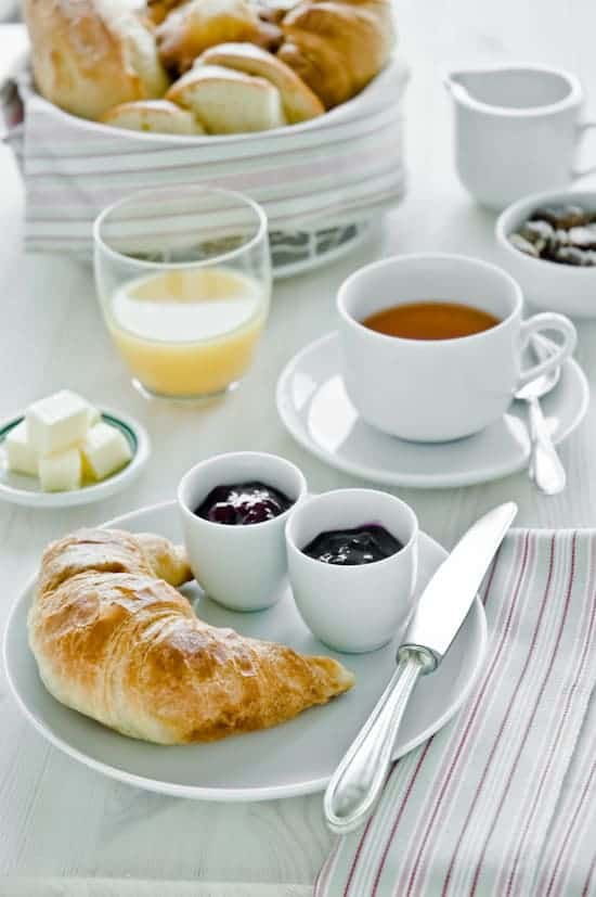 Breakfast with croissants and coffee by Meeta K. Wolff