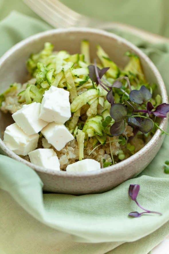 Zucchini Quinoa Salad with Microgreens and Feta in Bowl on Napkin
