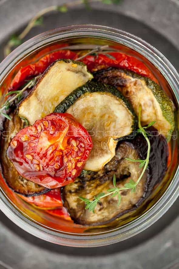 marinated roasted eggplant, zucchini and tomatoes