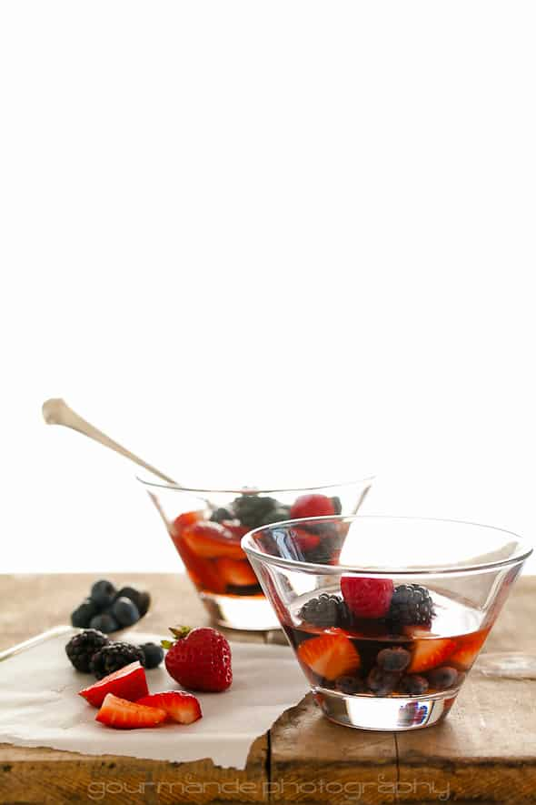 mixed fresh berries macerated in a rosé wine with honey mascarpone (fruit soup) in 2 cups