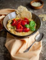 Easy Polenta with Fresh Tomatoes and Parmesan Crisps