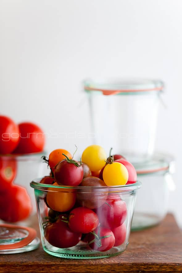 baby tomatoes in jars