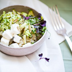 zucchini, quinoa, microgreens, salad