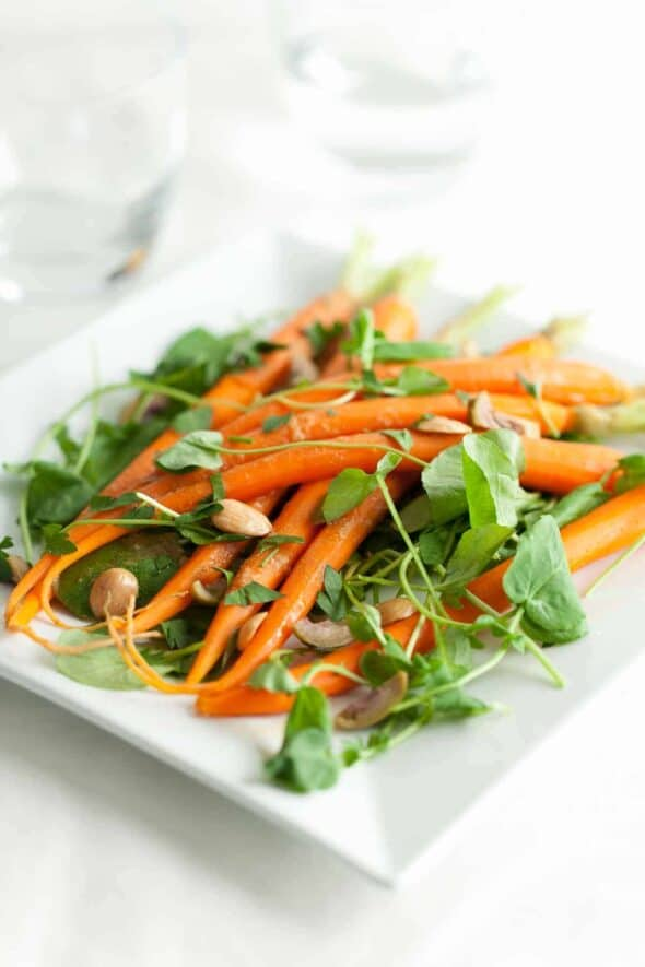 Carrot Watercress Salad with Orange Blossom Dressing on Square Serving Plate