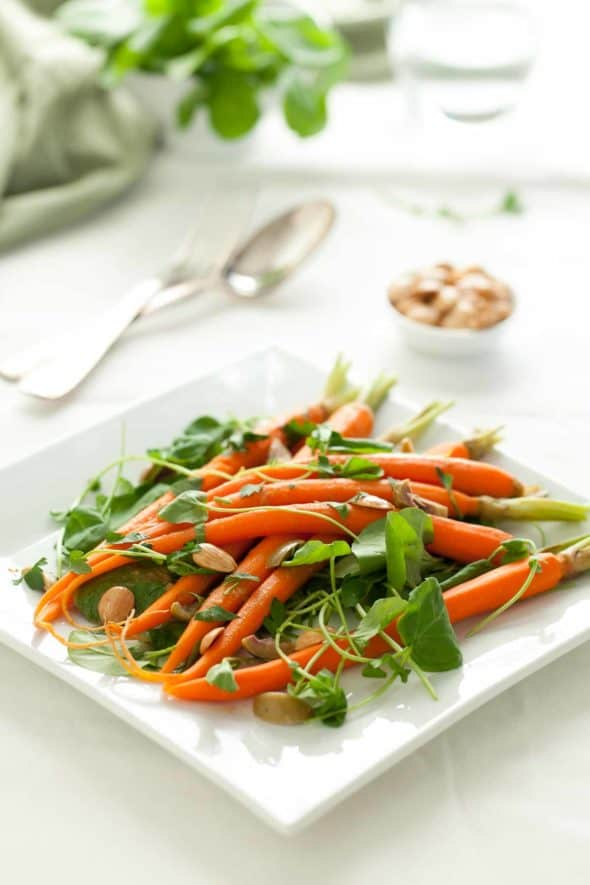 Carrot Watercress Salad on Serving Plate