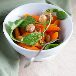 Carrots and Watercress Salad in Bowl with Fork