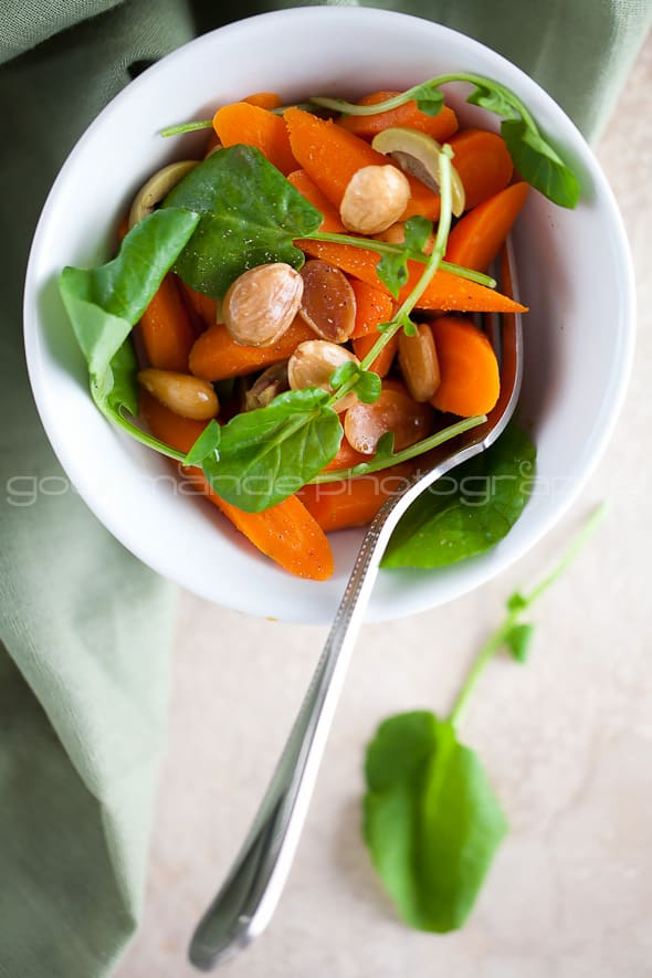 Carrot and Watercress Salad in Bowl
