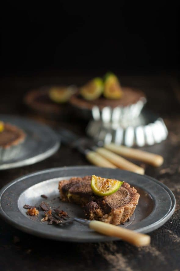 Chocolate Fig Tarts on Silver Plates