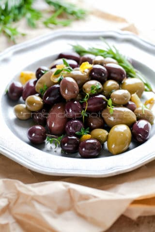 Marinated Olives with Garlic, Rosemary and Thyme