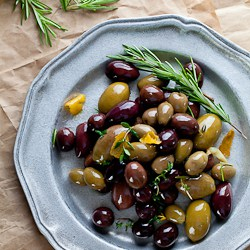 Marinated Olives w- Rosemary, Thyme and Garlic