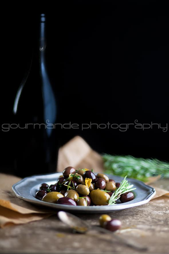 Marinated Olives with Rosemary and Wine