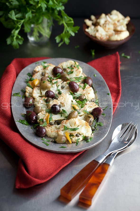 Cauliflower with Olives and Herbs  Roasted Cauliflower with Olives and Herbs | A Warm Reception