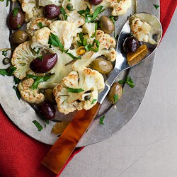 Roast Cauliflower with Olives and Herbs