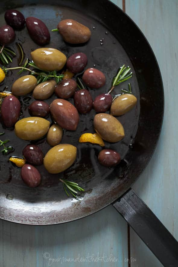 marinated olives in pan