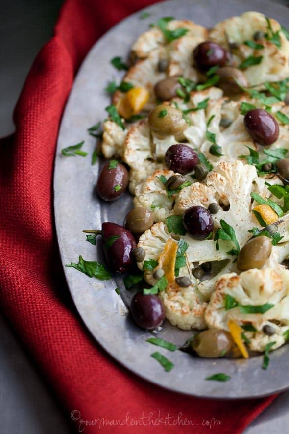 roasted cauliflower, cauliflower side dish, cauliflower with olives, cauliflower in the oven, holiday side dish