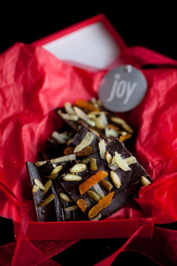 Dark Chocolate Pumpkin Seed Bark with Ginger and Apricots in Red Gift Box