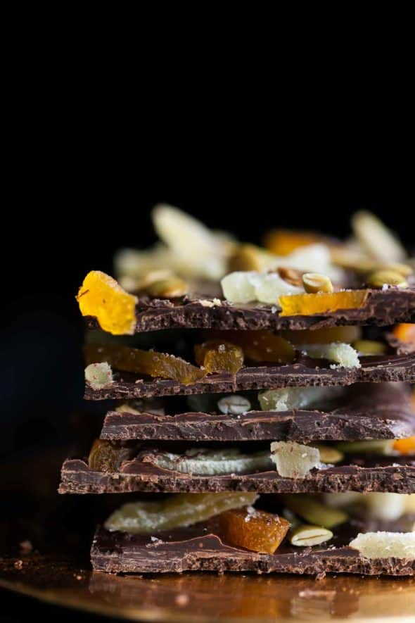 Dark Chocolate Pumpkin Seed Bark with Ginger and Apricots Stacked