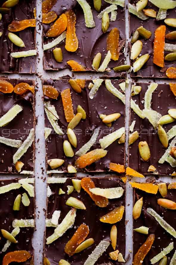 Dark Chocolate Pumpkin Seed and Ginger Bark