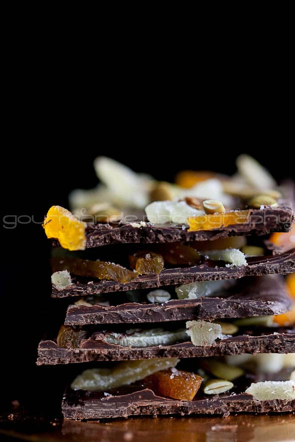 Dark Chocolate Pumpkin Seed and Ginger Bark 4 Dark Chocolate Bark with Ginger, Pumpkin Seeds and Apricots | A Holiday Brunch Party