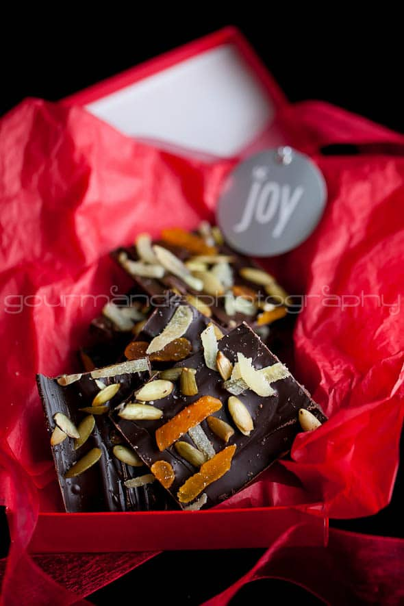 Dark Chocolate Pumpkin Seed and Ginger Bark 5 Dark Chocolate Bark with Ginger, Pumpkin Seeds and Apricots | A Holiday Brunch Party