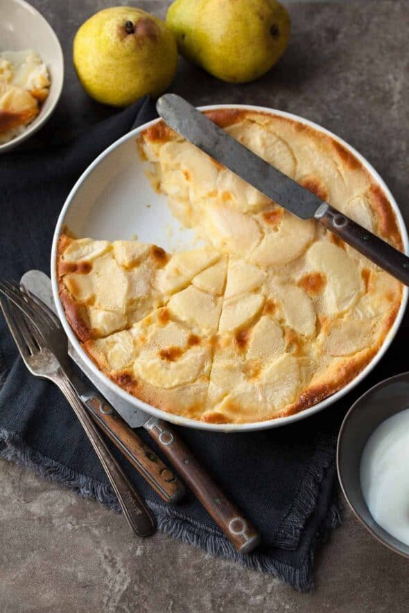 Gluten-Free Almond Pear Clafoutis in Baking DIsh