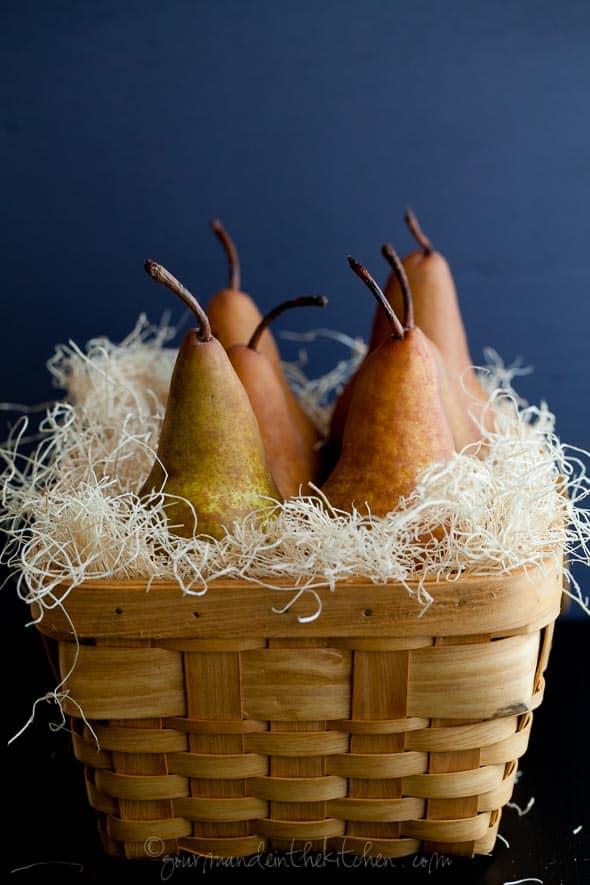 pears, pears in basket, basket of pears
