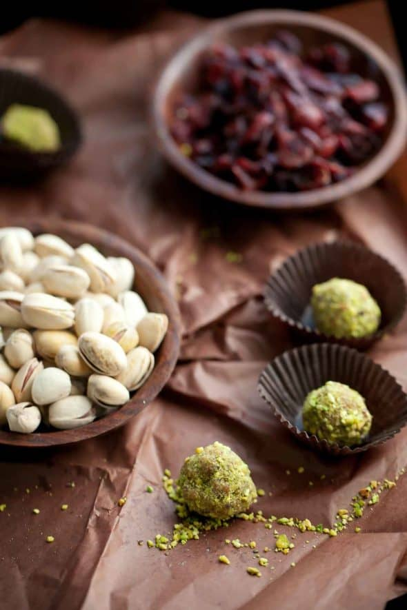 Easy to prepare no-bake, make-ahead fruit and nut truffles.