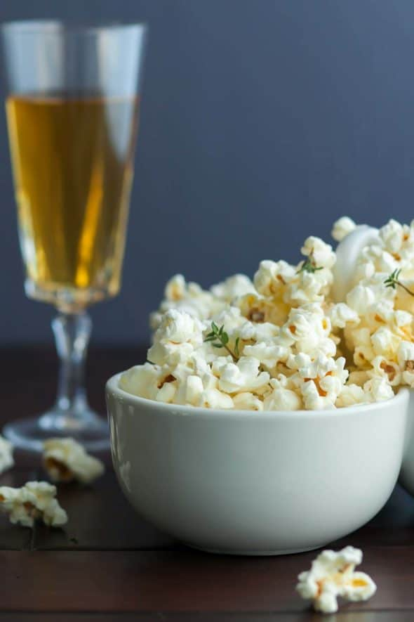 Truffle Butter Parmesan and Thyme Popcorn with Champagne
