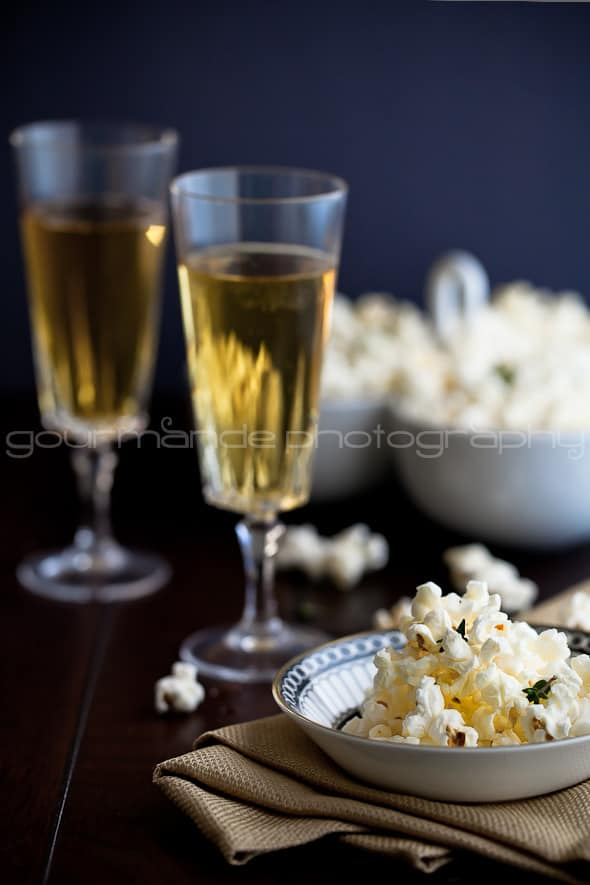 Truffle Butter, Parmesan and Thyme Popcorn with Champagne
