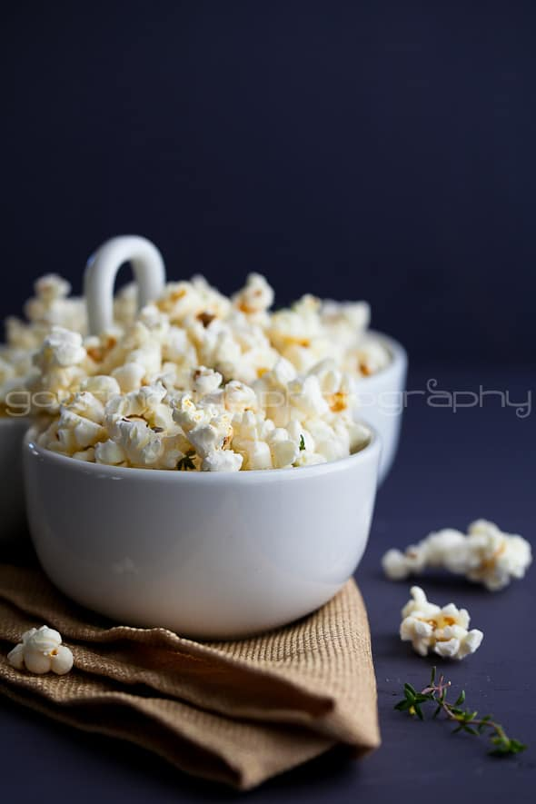 Truffle Butter Parmesan and Thyme Popcorn Truffle Butter, Parmesan and Thyme Popcorn | A Popcorn and Champagne Pairing