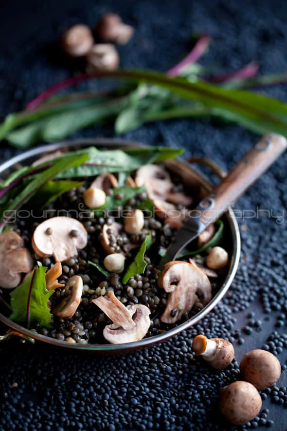Black Lentil and Mushroom Salad with Dandelion Greens Recipe Gourmande in the Kitchen